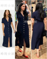 Dress Summer 2020 Navy Blue XS,S,M,L,XL,2XL,3XL commute V-neck middle-waisted Solid color routine lady nylon