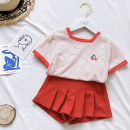 suit Other / other Cherry suit , Cherry T'ao , Cherry skirt 90cm,100cm,110cm,120cm,130cm,140cm female summer princess Sleeveless + pants 2 pieces Thin money No model Socket nothing lattice cotton children seventeen thousand two hundred and seven - one Class A Other 100% Chinese Mainland