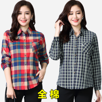 Middle aged and old women's wear Spring of 2019 Color 1, color 2, color 4, color 5, color 6, color 7, color 8, color 9, color 10, color 11, color 12, color 13, color 14, color 15, color 16 M,L,XL,2XL,3XL leisure time shirt Straight cylinder singleton  lattice 40-49 years old Cardigan square neck