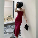 Dress Spring 2021 S,M,L longuette singleton  Sleeveless One word collar Solid color Socket A-line skirt camisole Type A backless polyester fiber