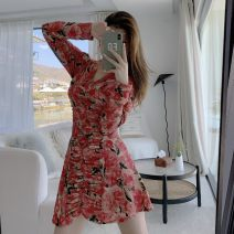 Dress Spring 2021 Short cut S,M,L,XL Short skirt singleton  Long sleeves commute V-neck middle-waisted Decor Socket A-line skirt routine 25-29 years old Type A Retro printing polyester fiber