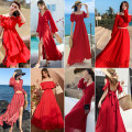 Dress Spring 2020 9088 red, 88168883983672898885812681361105 S,M,L,XL Middle-skirt singleton  Short sleeve commute Elastic waist Solid color Socket Ruffle Skirt pagoda sleeve Type H Pleating, Auricularia auricula, lace up, stitching, wave other