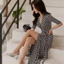 Dress Spring 2021 3070306230683066930663053 pink, 30093005305306030633001 orange, 301030483002 black, 305230503011304630513034 black S,M,L,XL,2XL longuette singleton  three quarter sleeve commute V-neck High waist Decor other routine Breast wrapping Type H Korean version other polyester fiber