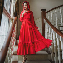 Dress Autumn 2020 Red, white S,M,L,XL longuette singleton  Long sleeves commute V-neck High waist Solid color Socket Big swing Type A Retro Chiffon polyester fiber