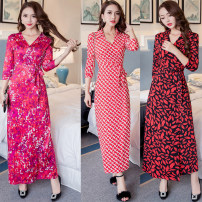 Dress Summer of 2019 Rose red, red, blue, pink, camel, Navy, red lip, rose red, retro pattern, blue 1567, black and white, picture color, apricot flower, blue 8680, black 1685, chain, 3034 black, 3034 red, 30263030306030593033 S,M,L,XL,2XL Mid length dress singleton  commute V-neck Decor other Others