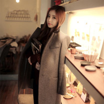 woolen coat Autumn of 2018 S,M,L,XL,2XL wool 91% (including) - 95% (excluding) Medium length Long sleeves commute double-breasted routine tailored collar Solid color Self cultivation Korean version 18-24 years old Solid color polyester fiber Tweed