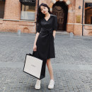 Dress Summer 2021 Blue, black S,M,L,XL Mid length dress singleton  Short sleeve commute V-neck middle-waisted Solid color Socket Irregular skirt routine Others Type X Korean version 71% (inclusive) - 80% (inclusive) other cotton