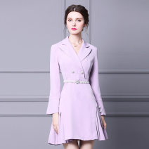 Dress Spring 2021 lilac colour S,M,L,XL Short skirt singleton  Long sleeves commute tailored collar High waist Solid color zipper A-line skirt pagoda sleeve Others 30-34 years old Type A kevin&zhen literature printing More than 95% other polyester fiber