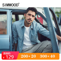 shirt Youth fashion Simwood 165/S 170/M 175/L 180/XL 185/XXL 190/XXXL Blue stripe routine square neck Long sleeves standard Other leisure spring youth Cotton 100% Simplicity in Europe and America 2020 stripe Color woven fabric Spring 2020