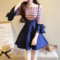Dress Summer of 2018 Two piece set [100% real shooting, quality assurance] S,M,L Short skirt Two piece set three quarter sleeve Sweet One word collar High waist stripe zipper A-line skirt pagoda sleeve Others Type A Bowknot, stitching, strap, zipper 31% (inclusive) - 50% (inclusive) knitting cotton
