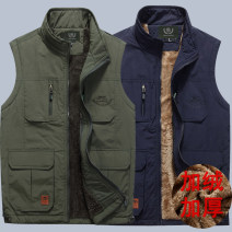 Vest / vest Fashion City Jeep chariot / Jeep Chariot Other leisure easy Vest thin summer stand collar youth 2017 Business Casual Solid color zipper Round hem Zipper decoration nothing Mingji thread patch bag