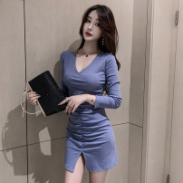 Dress Spring 2021 Blue, black S,M,L,XL Short skirt singleton  Long sleeves commute V-neck High waist Solid color Socket 18-24 years old Type A fold 6161# 81% (inclusive) - 90% (inclusive) cotton