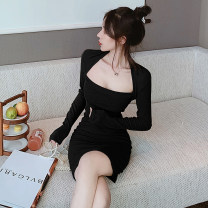 Dress Spring 2021 black S,M,L Short skirt singleton  Long sleeves commute square neck middle-waisted Solid color Socket Pencil skirt routine Breast wrapping 18-24 years old Type A Korean version 7110A 51% (inclusive) - 70% (inclusive) other polyester fiber
