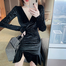 Dress Spring 2021 black S,M,L Short skirt singleton  Long sleeves commute V-neck High waist Solid color Socket One pace skirt routine 25-29 years old Korean version fold six hundred and twenty # polyester fiber