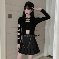 Fashion suit Spring 2021 S,M,L Black T, black T with black skirt suit, belt price 18-25 years old 51% (inclusive) - 70% (inclusive) cotton