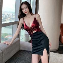Dress Summer 2021 Red, black S,M,L Short skirt singleton  Sleeveless commute V-neck High waist camisole 18-24 years old Bow, zipper
