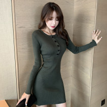 Dress Spring 2021 Army green, black S,M,L,XL Short skirt singleton  Long sleeves commute Crew neck High waist Solid color Socket A-line skirt routine Others 18-24 years old Type A Korean version Button 51% (inclusive) - 70% (inclusive) knitting polyester fiber