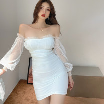 Dress Spring 2021 white S,M,L singleton  Sweet One word collar High waist Solid color Socket One pace skirt puff sleeve Breast wrapping 18-24 years old Type A princess