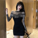 Dress Spring 2021 black S,M,L,XL Short skirt singleton  Long sleeves commute Crew neck middle-waisted Solid color A button One pace skirt routine Others 18-24 years old Type H Korean version tassels 31% (inclusive) - 50% (inclusive) other cotton