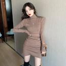 Dress Spring 2021 Khaki, black Average size Short skirt singleton  Long sleeves commute Half high collar High waist Solid color Irregular skirt routine 18-24 years old Type A Korean version