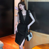 Dress Summer 2021 black S,M,L Short skirt singleton  commute V-neck High waist Solid color A-line skirt 18-24 years old Korean version