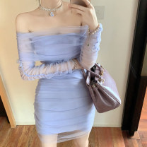 Dress Spring 2021 Blue purple S,M,L Short skirt singleton  commute One word collar High waist Solid color Socket One pace skirt 18-24 years old Type A lady