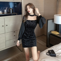 Dress Spring 2021 black S,M,L Short skirt singleton  Long sleeves commute High waist Solid color One pace skirt 18-24 years old Type A Splicing