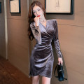 Dress Spring 2021 Brown S,M,L Short skirt singleton  Long sleeves commute V-neck High waist Solid color Socket One pace skirt routine 25-29 years old Type A Korean version Splicing 611# polyester fiber