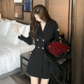 Dress Spring 2021 black S,M,L singleton  Long sleeves commute tailored collar High waist Solid color A-line skirt 18-24 years old Korean version bow