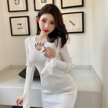 Dress Winter 2020 White, black Average size Short skirt singleton  Long sleeves commute Crew neck middle-waisted Solid color Socket Pencil skirt routine 18-24 years old Korean version Splicing M227 51% (inclusive) - 70% (inclusive) Vinylon
