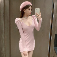 Dress Spring 2021 Pink, black S,M,L singleton  Long sleeves commute V-neck High waist Solid color Socket A-line skirt routine Others 18-24 years old Type A Korean version chain 338# 91% (inclusive) - 95% (inclusive) nylon