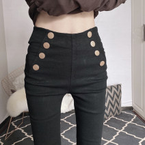 Casual pants black M,L,XL,2XL Spring 2021 trousers Pencil pants High waist commute routine 18-24 years old nylon