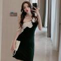 Dress Summer 2021 black S,M,L Short skirt singleton  Sleeveless Slant collar High waist One pace skirt camisole 18-24 years old