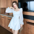 Dress Spring 2021 White, pink S,M,L Short skirt singleton  Long sleeves commute square neck High waist Solid color A-line skirt pagoda sleeve Others 18-24 years old Type A Korean version