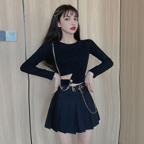 Fashion suit Spring 2021 S,M,L Black T, black T-shirt with black skirt, belt price 18-25 years old 81% (inclusive) - 90% (inclusive) cotton