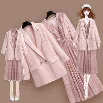 Dress Spring 2021 Pink suit coat + pink dress, apricot suit coat + apricot dress, pink suit coat, apricot suit coat, pink dress, apricot dress M,L,XL,2XL,3XL,4XL Middle-skirt Two piece set Long sleeves commute Polo collar Solid color routine 25-29 years old Korean version Button