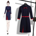 Dress Winter 2020 S,M,L,XL,2XL,3XL Mid length dress singleton  three quarter sleeve commute Polo collar middle-waisted Solid color zipper One pace skirt routine Others 25-29 years old Type X Ol style other other
