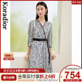 Dress Spring 2021 This is white S M L XL 2XL Mid length dress singleton  Long sleeves commute V-neck middle-waisted Leopard Print Socket other routine 35-39 years old Type X Koradior / coretti lady Splicing KF03797V1 More than 95% other polyester fiber Polyester 100%
