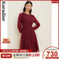 Dress Winter 2020 Violet S M L XL 2XL Mid length dress singleton  Long sleeves commute Crew neck middle-waisted Solid color Socket other routine 30-34 years old Type X Koradior / coretti lady Lace stitching fold KF04931S6 More than 95% other nylon Polyamide fiber (nylon) 100%