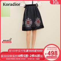 skirt Winter 2020 S M L XL 2XL black Mid length dress commute Natural waist A-line skirt Big flower Type A 30-34 years old KW01144W0 More than 95% other Koradior / coretti polyester fiber Lace stitching lady Polyester 100%