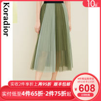 skirt Summer 2021 S M L XL 2XL chartreuse  Mid length dress commute Natural waist A-line skirt stripe Type A 30-34 years old KW01204G1 More than 95% other Koradior / coretti polyester fiber Splicing fold lady Polyester 100% Same model in shopping mall (sold online and offline)