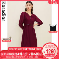 Dress Winter 2020 Crimson S M L XL 2XL Mid length dress singleton  Long sleeves commute V-neck middle-waisted Solid color Socket A-line skirt routine 35-39 years old Type X Koradior / coretti lady Splicing KF03696A8 30% and below other polyester fiber Triacetate 72.3% polyester 27.7%