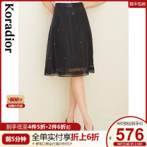 skirt Summer 2021 S M L XL 2XL black Mid length dress commute Natural waist A-line skirt Solid color Type A 30-34 years old KW01263W0 More than 95% Koradior / coretti polyester fiber Patchwork lace lady Polyester 100%
