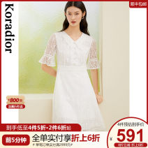 Dress Spring 2021 This is white S M L XL 2XL Mid length dress singleton  Short sleeve commute Doll Collar middle-waisted Solid color Socket Princess Dress routine 30-34 years old Type X Koradior / coretti lady Pleated lace KF05005V1 More than 95% polyester fiber Polyester 100%