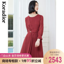 Dress Spring 2021 Zhonghong S M L XL 2XL Mid length dress singleton  Long sleeves commute Crew neck middle-waisted Solid color Socket routine 35-39 years old Type X Koradior / coretti lady Splicing asymmetry KF05561A5 More than 95% polyester fiber Polyester 100%