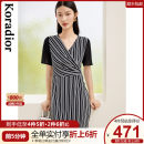 Dress Summer 2021 black S M L XL 2XL Mid length dress singleton  Short sleeve commute V-neck middle-waisted stripe Socket Pencil skirt routine 35-39 years old Type X Koradior / coretti lady Splicing More than 95% other polyester fiber Polyester 100%
