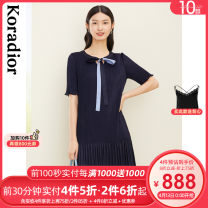 Dress Summer 2021 Dark cyan S M L XL 2XL Mid length dress singleton  Short sleeve commute Crew neck middle-waisted other Socket A-line skirt routine 35-39 years old Type A Koradior / coretti lady Splicing KF03973Q7 More than 95% other polyester fiber Polyester 100%