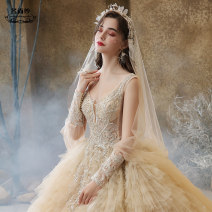 Wedding dress Summer 2020 Tailing XS S M L XL XXL custom size, please contact customer service court Long tail Bandage Hotel Interior Deep collar V Netting Three dimensional cutting MSS-6209 middle-waisted 18-25 years old Nail bead Sleeveless shawl Mingshang yarn Large size Polyester 100% Netting