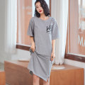 Nightdress Zinny grey 160(M),165(L),170(XL),175(XXL) Cartoon Long sleeves Leisure home Short skirt summer Cartoon animation youth Crew neck cotton printing More than 95% pure cotton C1106 200g and below