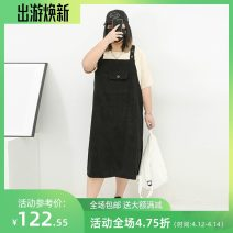Women's large Summer 2021 Blue, black Three, four, five, six, seven, eight Dress singleton  commute easy moderate Conjoined Sleeveless Solid color lady cotton Three dimensional cutting miss38 30-34 years old pocket 96% and above Medium length